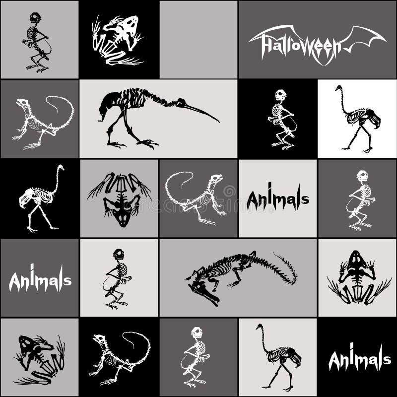 Svartvita skelett av reptilar, djur och fåglar i sömlös modell stock illustrationer