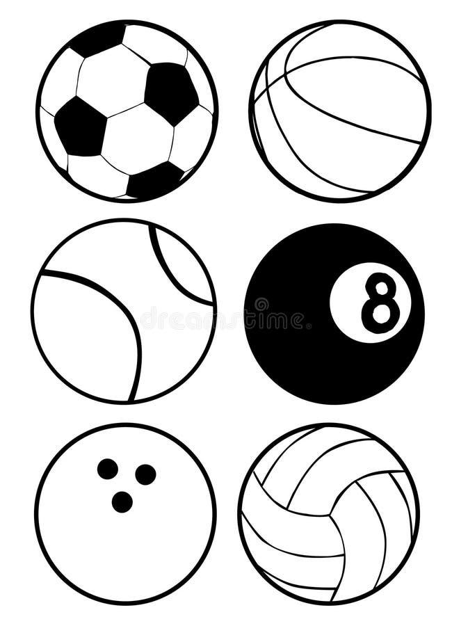Svartvita sportbollar royaltyfri illustrationer