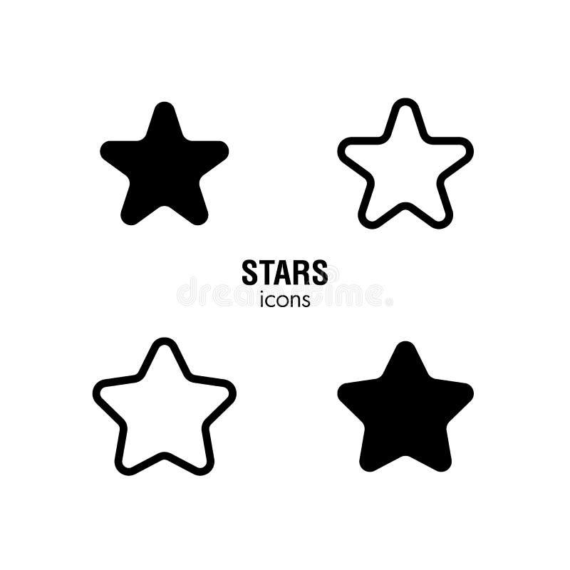 Svartvita stjärnasymboler stock illustrationer