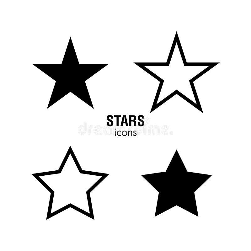 Svartvita stjärnasymboler vektor illustrationer