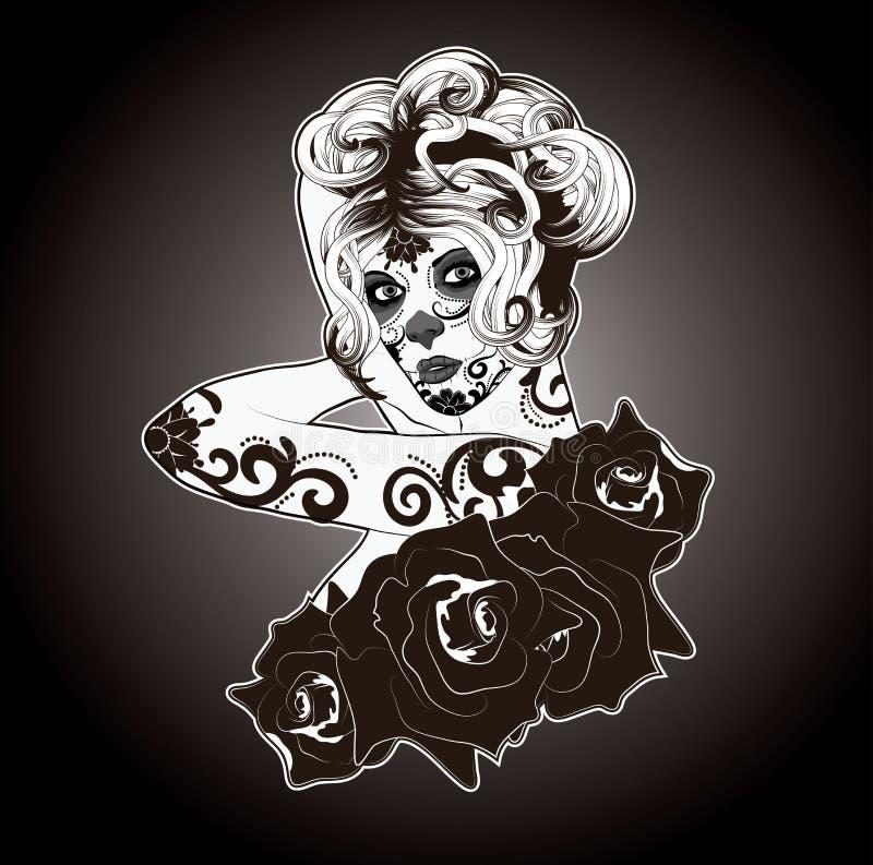 Svartvita Sugar Skull Woman royaltyfri illustrationer