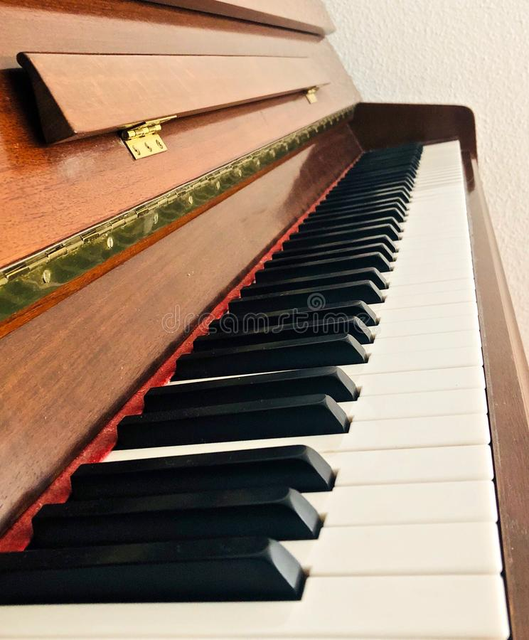 Svartvita tangenter av ett piano royaltyfri bild