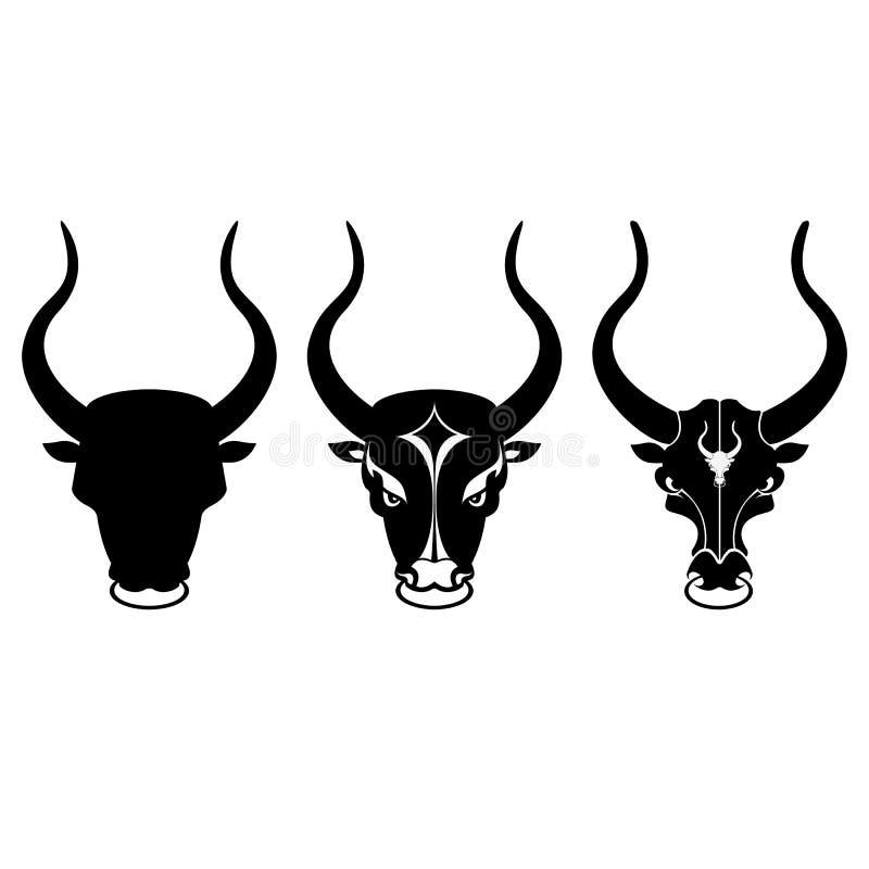 Svartvita tjurhuvudsymboler vektor illustrationer