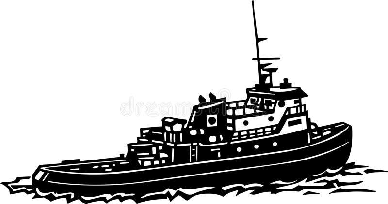 Svartvita Tug Boat Illustration royaltyfri illustrationer