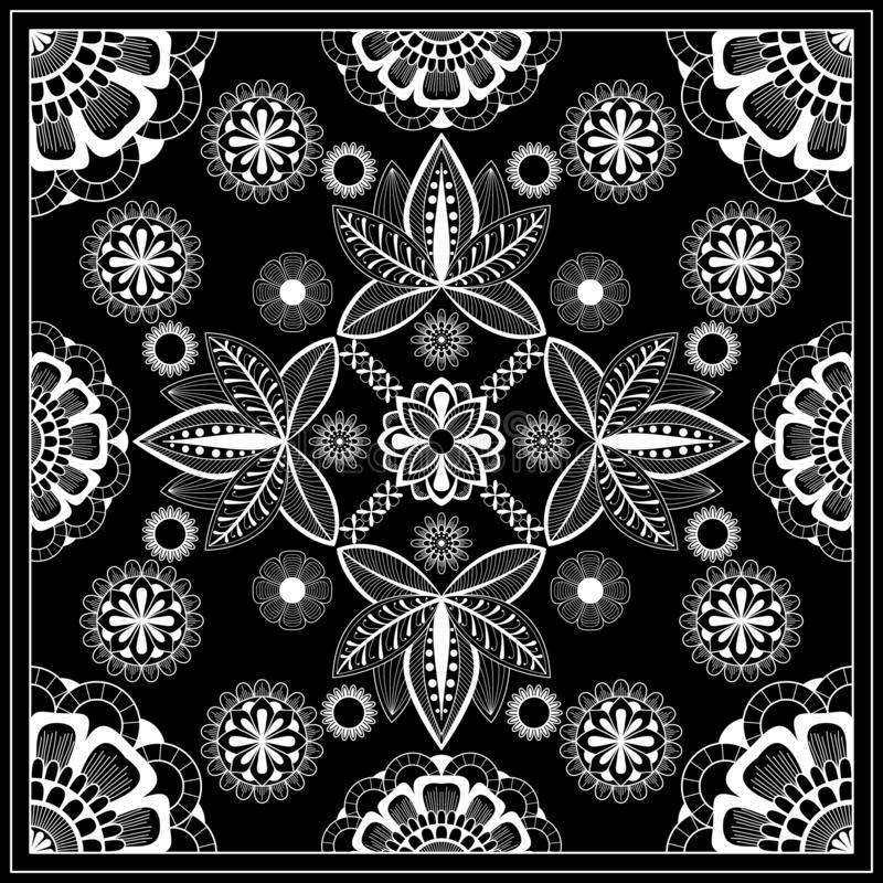 Svartvitt abstrakt bandanatryck med beståndsdelhennastil Fyrkantig modelldesign för kudden, matta, filt vektor illustrationer