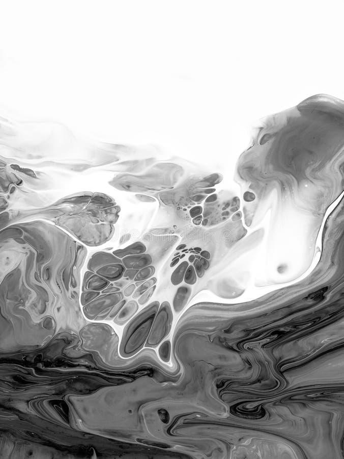 Svartvitt abstrakt begrepp målad bakgrund, tapet, textur modern konst vektor illustrationer