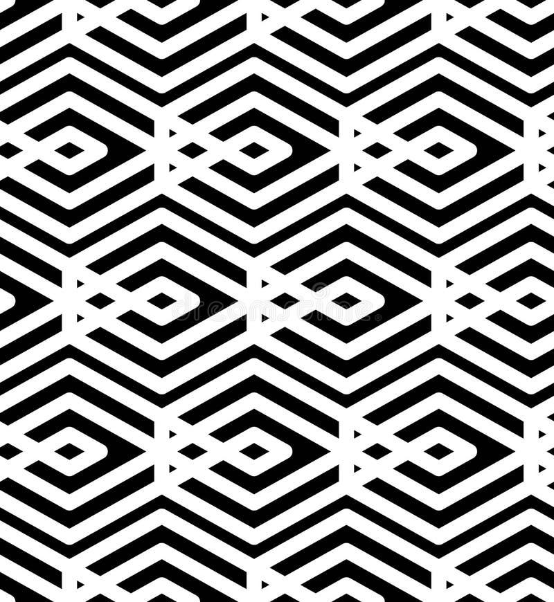 Svartvitt abstrakt begrepp texturerad geometrisk sömlös modell Sy stock illustrationer