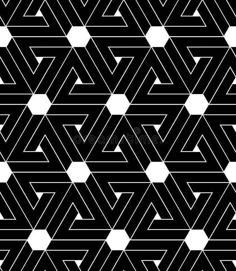 Svartvitt abstrakt begrepp texturerad geometrisk sömlös modell Ve royaltyfri illustrationer