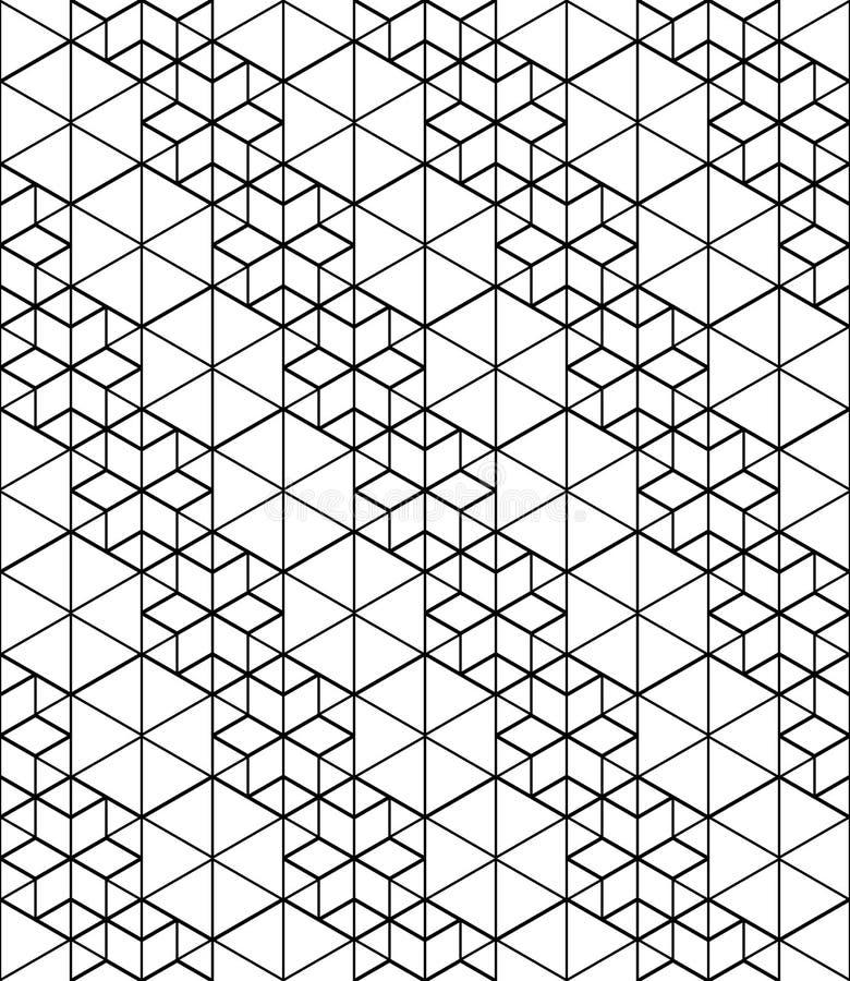 Svartvitt abstrakt begrepp texturerad geometrisk sömlös modell Ve stock illustrationer