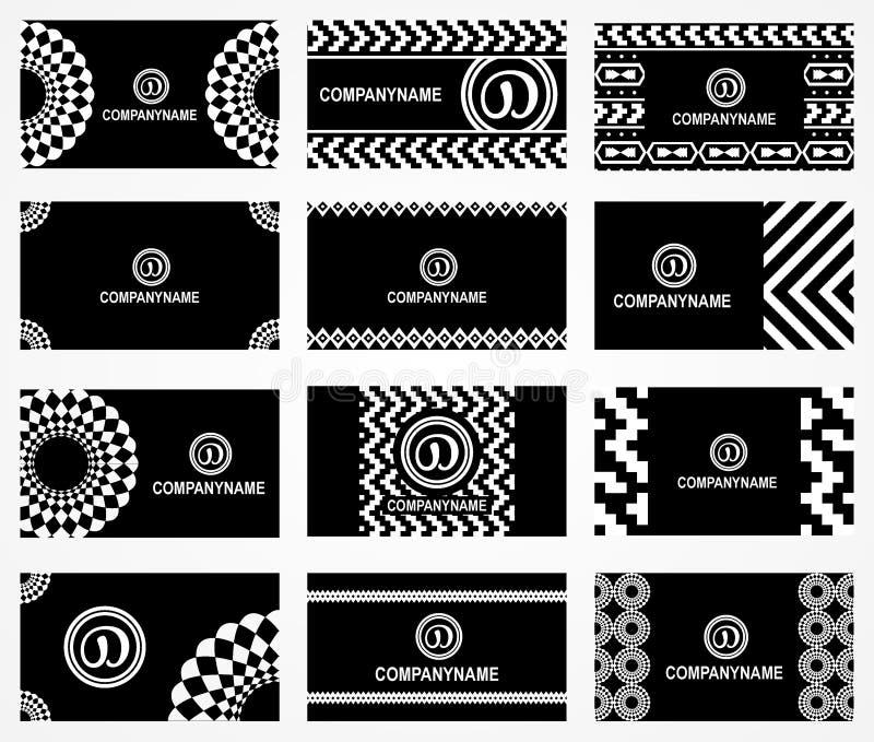 Svartvitt affärskort för Aztec stil vektor illustrationer