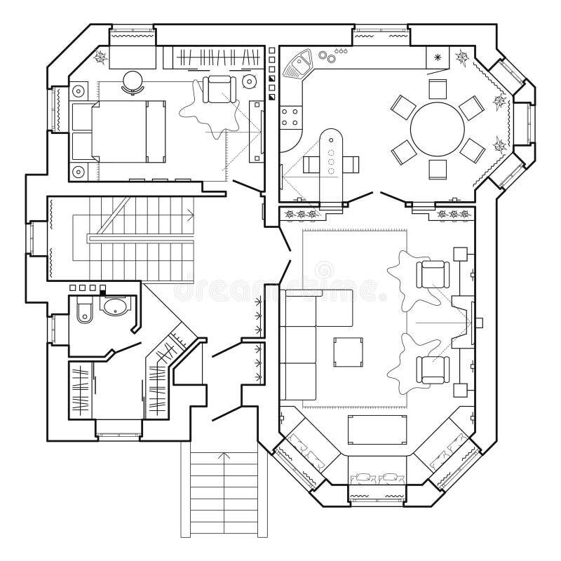 Svartvitt arkitektoniskt plan av ett hus Orientering av lägenheten med möblemanget i teckningssikten stock illustrationer