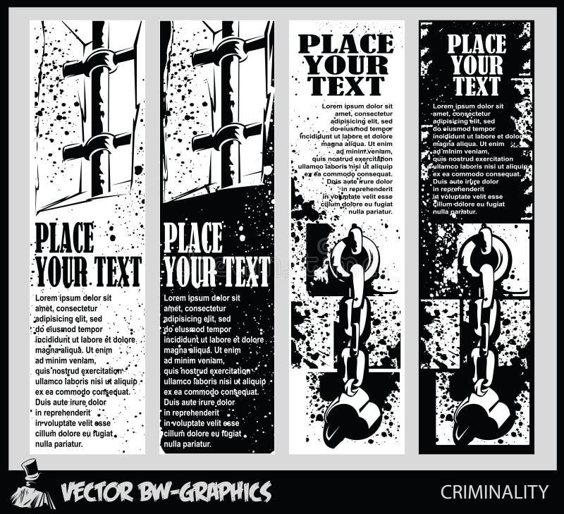 Svartvitt baner Symbolfängelser och bestraffning - skyddsgaller och bojor vektor illustrationer