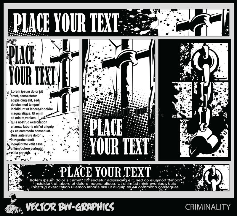 Svartvitt baner Symbolfängelser och bestraffning - skyddsgaller och bojor stock illustrationer