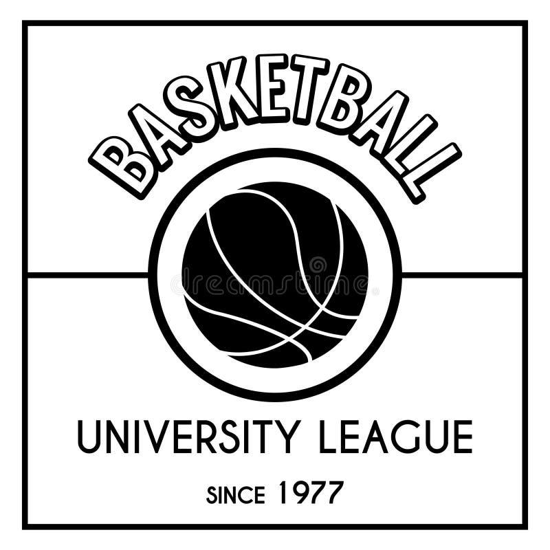 Svartvitt basketemblem stock illustrationer