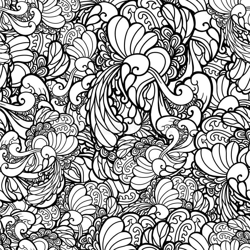 Svartvitt dekorativt blom- för vektor stock illustrationer