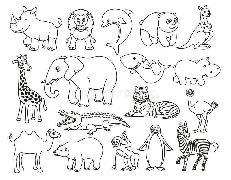Svartvitt diagram för vilda djur i linjen stil vektor illustrationer
