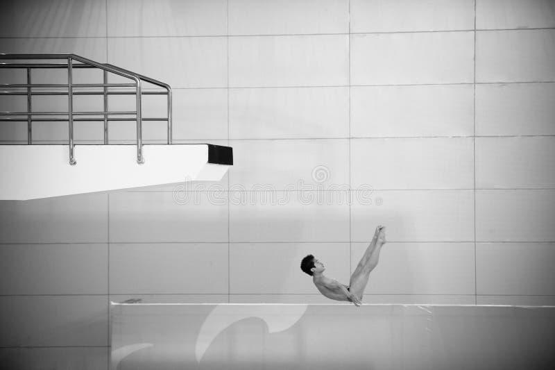 Svartvitt: dykningkonkurrensen arkivbild