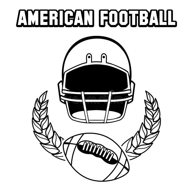 Svartvitt emblem för amerikansk fotboll stock illustrationer
