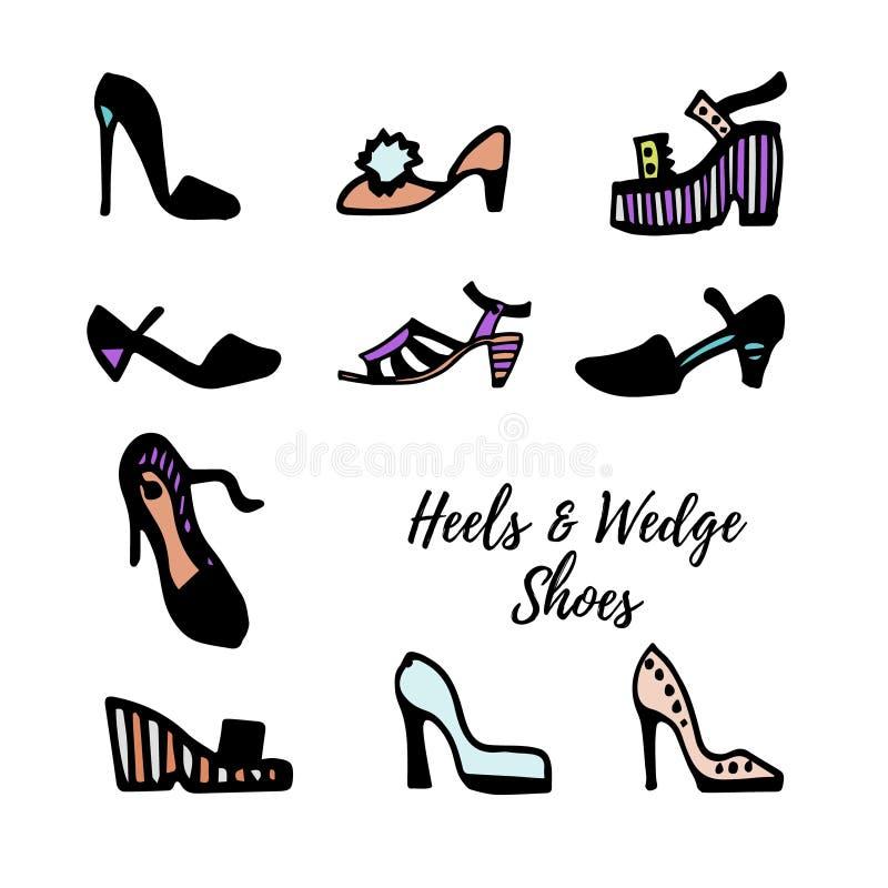 Svartvitt färgpulver skissar Kvinna` s skor samlingen: pumpar häl, kilar, sandaler också vektor för coreldrawillustration stock illustrationer