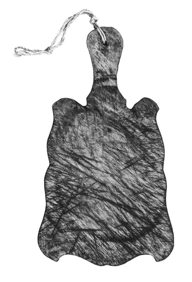 Svartvitt foto av en gammal skärbräda som isoleras på en vit bakgrund royaltyfri illustrationer