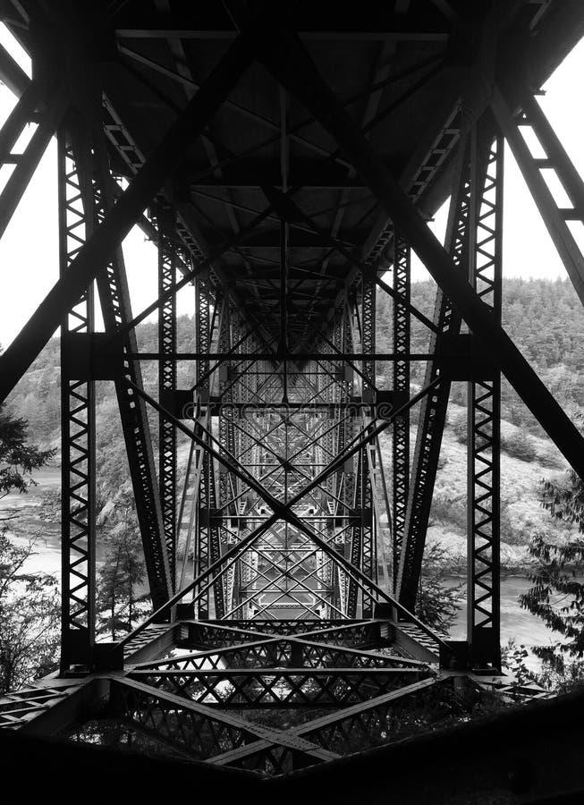 Svartvitt foto under bron på bedrägeripasserandet Washington arkivbilder