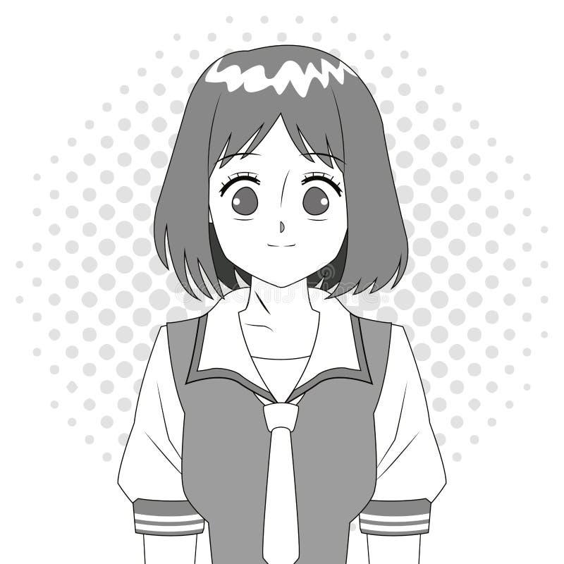 Svartvitt japanskt tecken för Animeflicka vektor illustrationer