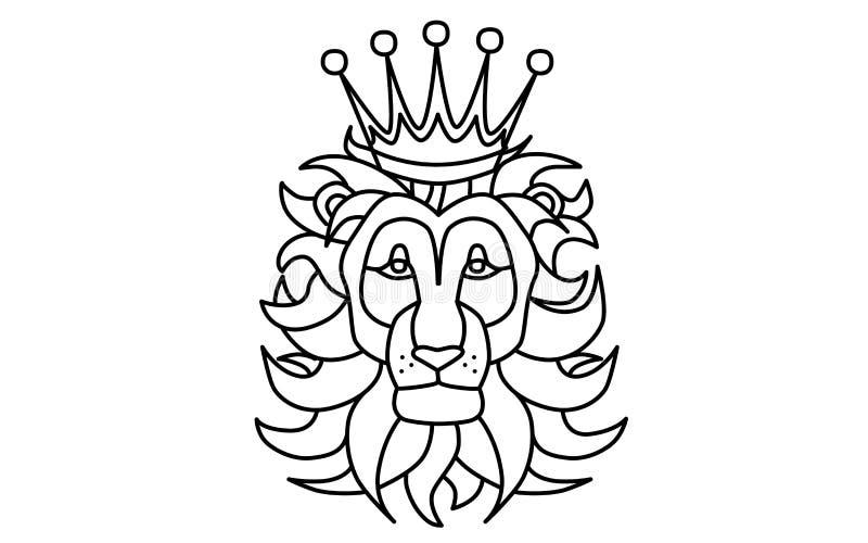 Svartvitt lejonhuvud med en krona vektor illustrationer