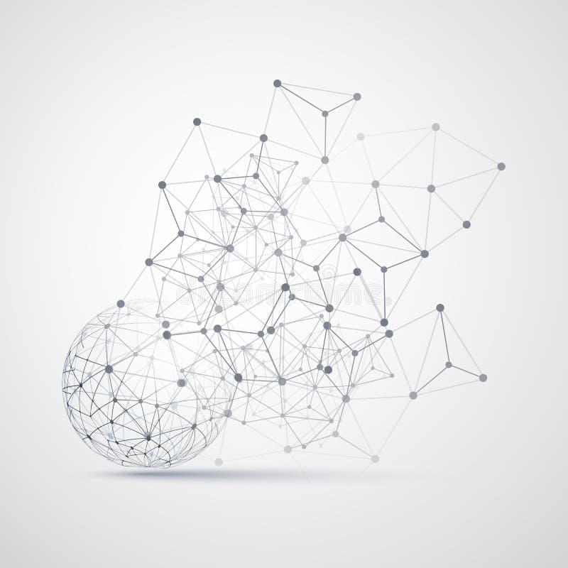 Svartvitt minsta moln som beräknar, nätverksstruktur, telekommunikationbegreppsdesign, modernt stiljordklot vektor illustrationer
