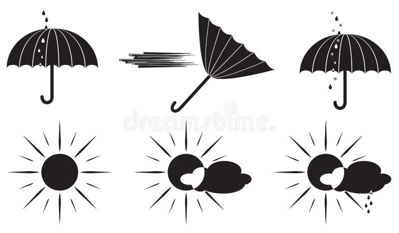 Svartvitt paraply för vädersymboler och solen royaltyfri illustrationer