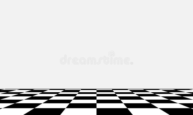 Svartvitt schackbräde i olikt perspektiv stock illustrationer