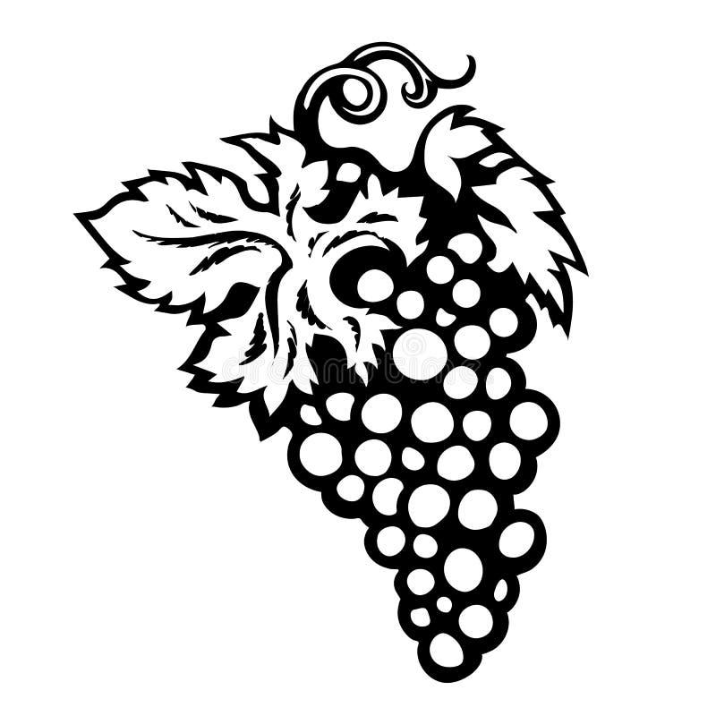 Svartvitt skissa av grupp av druvor med sidor som isoleras på vit bakgrund stock illustrationer