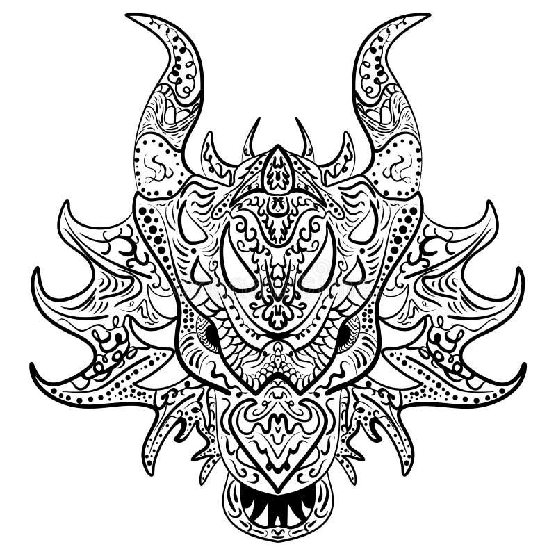 Svartvitt skissa head Zen-tova för draken stock illustrationer