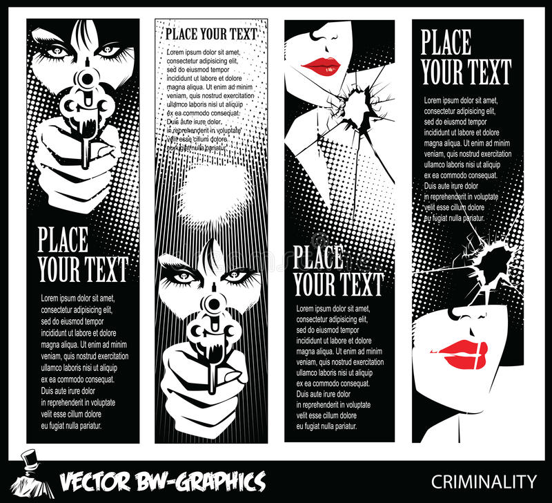 Svartvitt vektorbaner Flicka med ett vapen I ögonen av skallen royaltyfri illustrationer