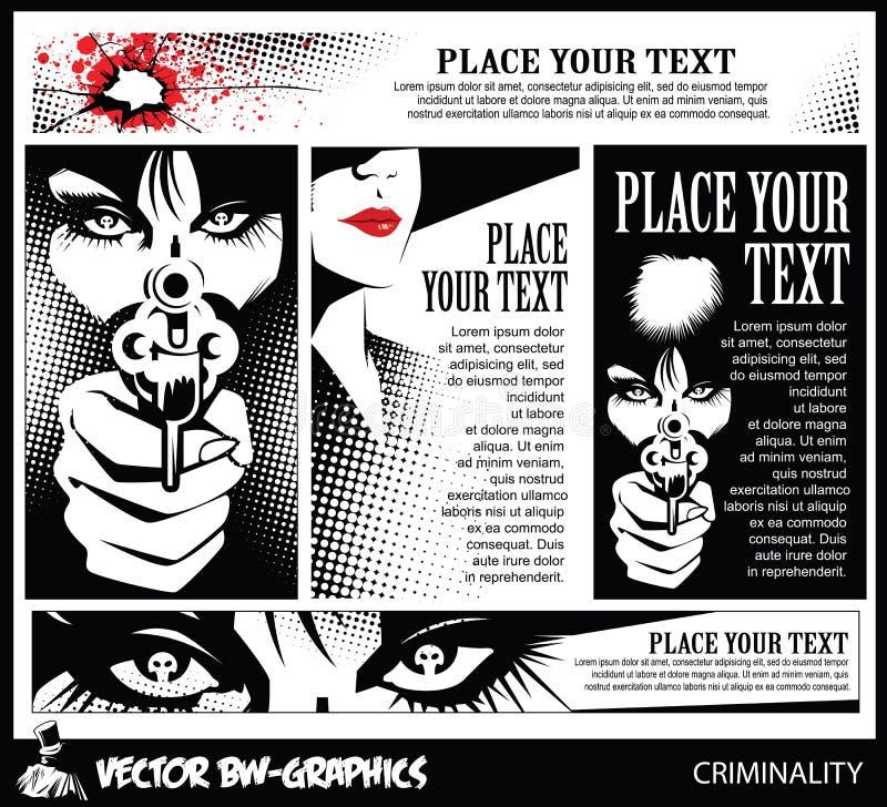 Svartvitt vektorbaner Flicka med ett vapen I ögonen av skallen stock illustrationer