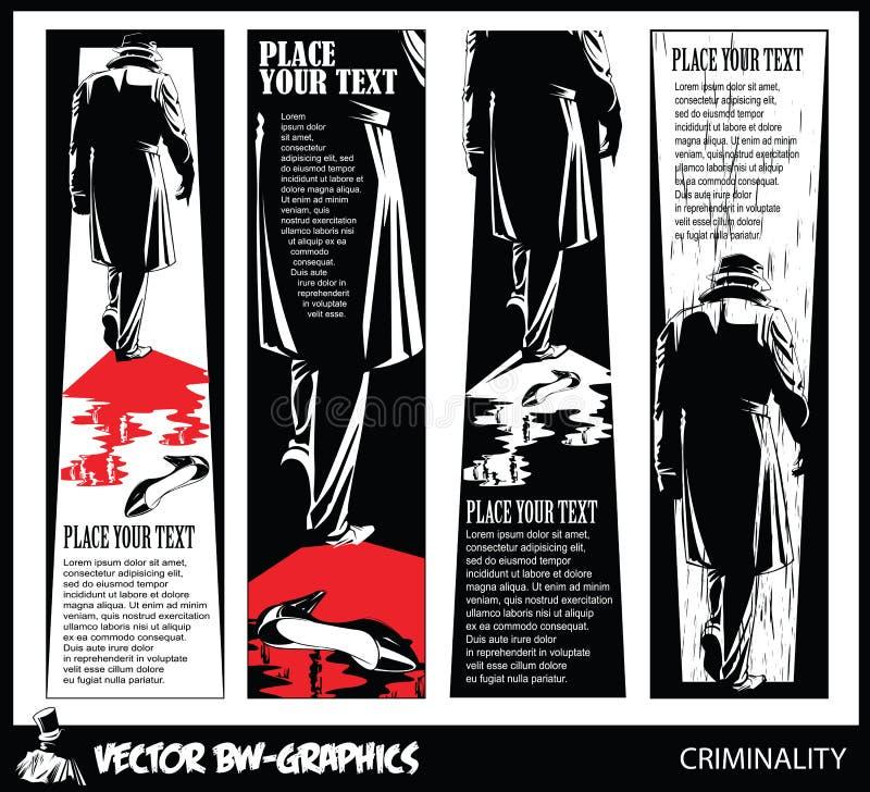 Svartvitt vektorbaner Mördaren lämnar platsen av brottet stock illustrationer