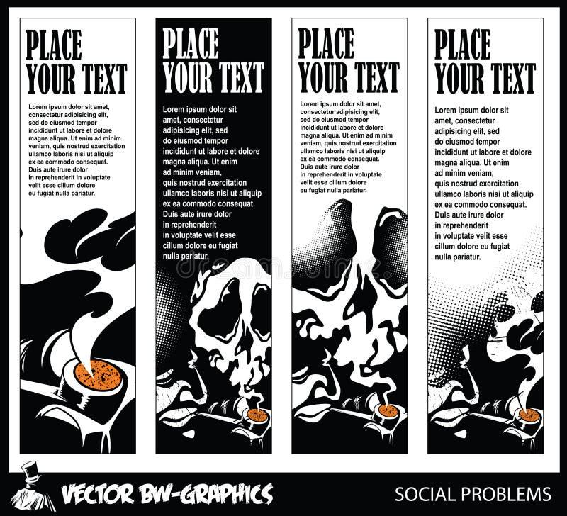 Svartvitt vektorbaner Vektorbaner på temat av farorna av att röka vektor illustrationer
