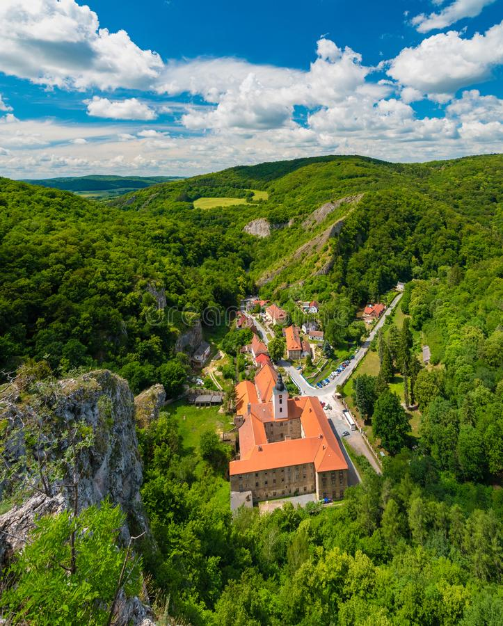 Svaty Jan pod Skalou monastery, Cesky kras nature preserve, Czech Republic stock photography