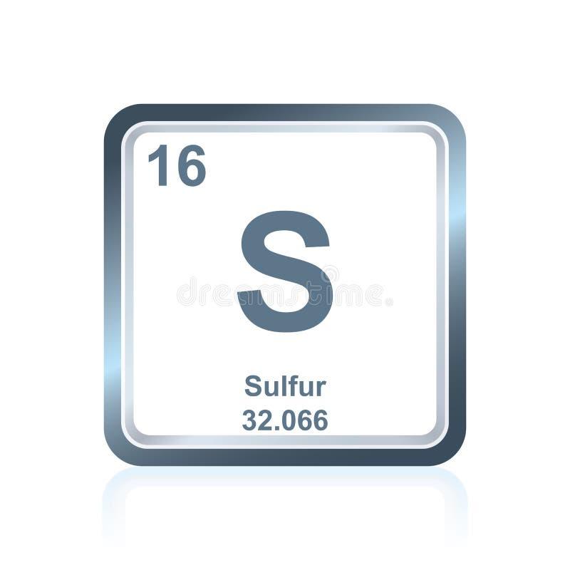 Svavel för kemisk beståndsdel från den periodiska tabellen stock illustrationer
