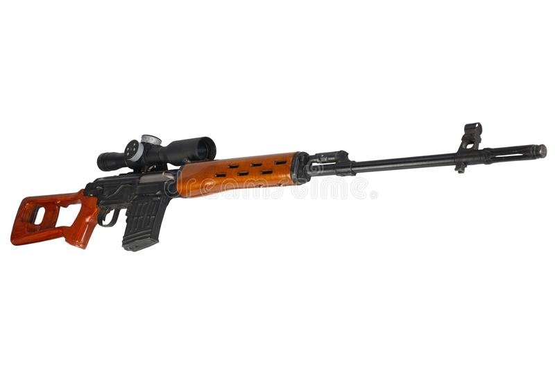 SVD sniper rifle isolated. On white background stock photography