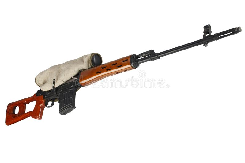 SVD sniper rifle isolated. On white background royalty free stock image