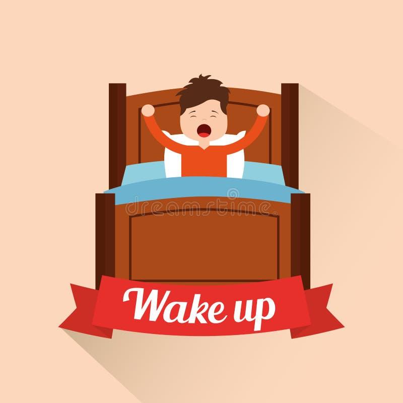 Svegli il ragazzino che allunga nel letto illustrazione vettoriale
