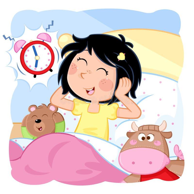 Svegli la bambina - routine quotidiana - buongiorno illustrazione di stock