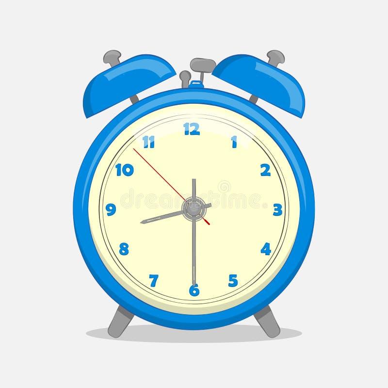Sveglia blu classica isolata su fondo bianco nello stile del fumetto Illustrazione di vettore Raccolta di festa illustrazione di stock
