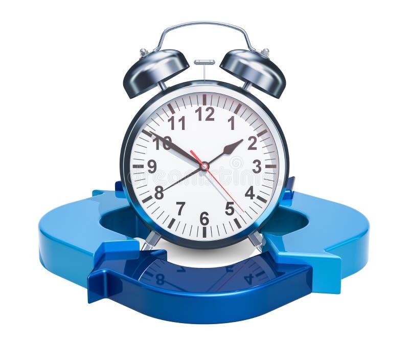 Sveglia con le frecce blu Il concetto della gestione di tempo, 3D rende illustrazione di stock