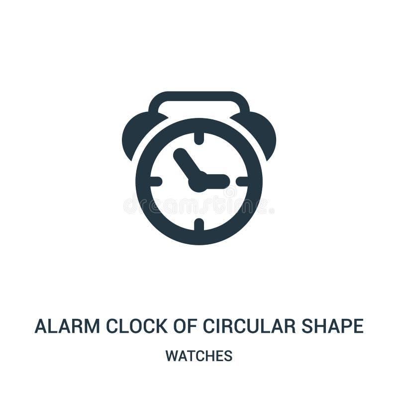sveglia del vettore dell'icona di forma circolare dalla raccolta di orologi Linea sottile sveglia di vettore dell'icona del profi illustrazione vettoriale