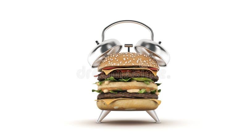 Sveglia dell'hamburger rappresentazione 3d illustrazione vettoriale