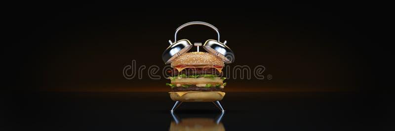 Sveglia dell'hamburger rappresentazione 3d royalty illustrazione gratis