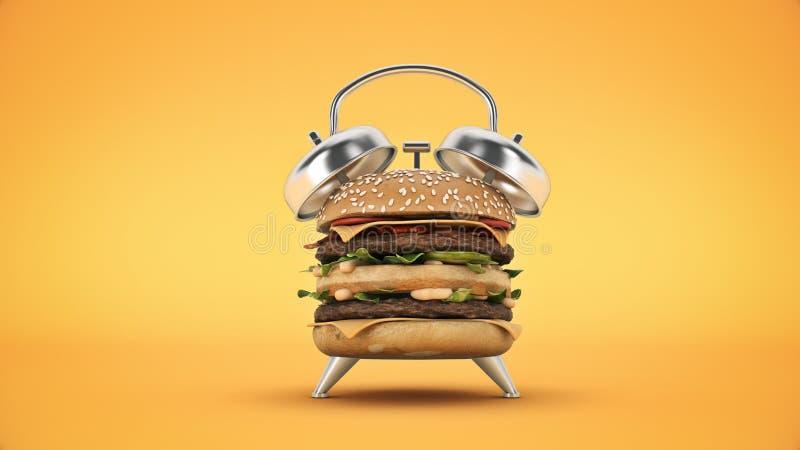 Sveglia dell'hamburger rappresentazione 3d illustrazione di stock