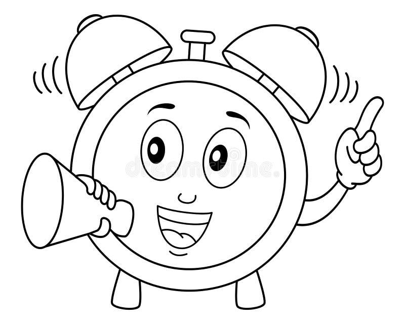 Sveglia di coloritura che tiene un megafono illustrazione di stock