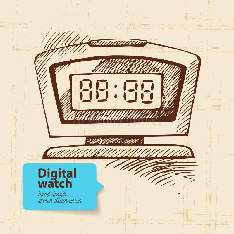 Sveglia digitale d'annata illustrazione vettoriale